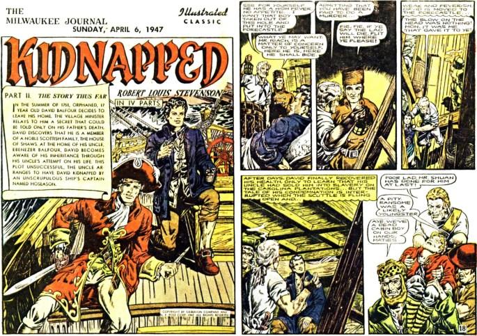 Illustrerade klassiker som söndagsbilaga: Inledande två sidor ur den andra bilagan med Kidnapped, från 6 april, 1947. ©Gilberton