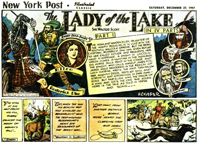 Illustrerade klassiker som söndagsbilaga: Inledande stripp ur The Lady of the Lake, från 27 december, 1947. ©Gilberton