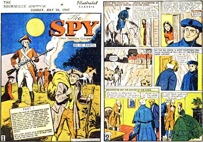 Illustrerade klassiker som söndagsbilaga: Inledande två sidor ur The Spy, från 20 juli, 1947. ©Gilberton