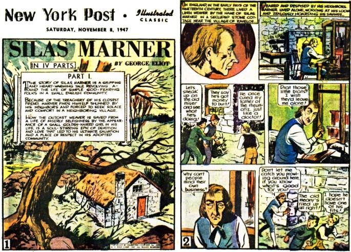 Illustrerade klassiker som söndagsbilaga: Inledande två sidor ur Silas Marner, från 8 november, 1947. ©Gilberton