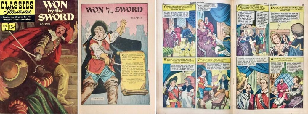 Omslag, förstasida och mittuppslag ur Classics Illustrated #151. ©Gilberton