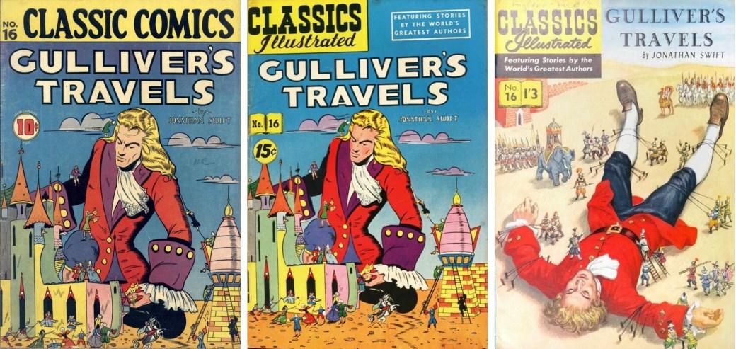 Omslag, förstasida och mittuppslag ur Classics Illustrated #125. ©Gilberton