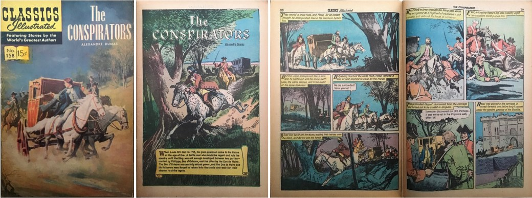 Omslag, förstasida och ett uppslag från Classics Illustrated #158. ©Gilberton