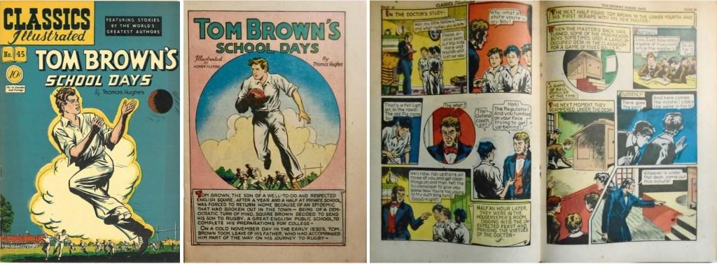 Omslag, förstasida och mittuppslag ur Classics Illustrated #45 (1948). ©Gilberton