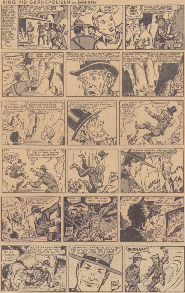 Sista veckans strippar i DN,signerade Jim Gary, ursprungligen från 8-13 juni 1953.