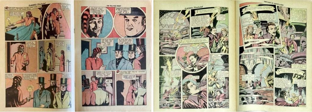 Uppslag ur andra och tredje serien i Classics Illustrated #84 (1951).