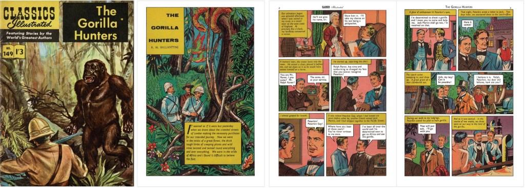 Omslag, förstasida och inledande sidor ur br. Classics Illustrated #149. ©T&P