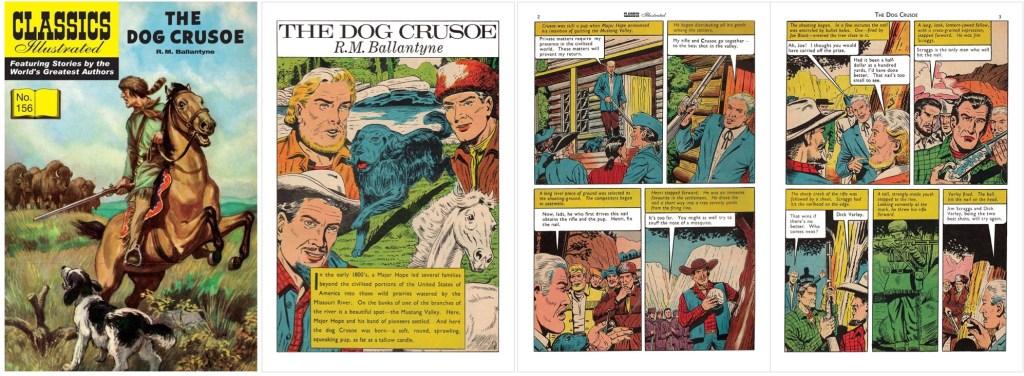 Omslag, förstasida och ett första uppslag ur br. Classics Illustrated #156. ©T&P