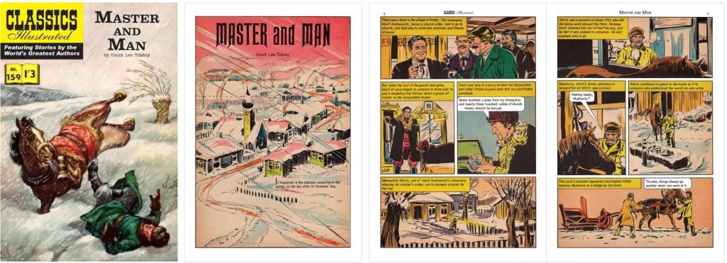 Omslag, förstasida och inledande uppslag ur br. Classics Illustrated #159. ©T&P