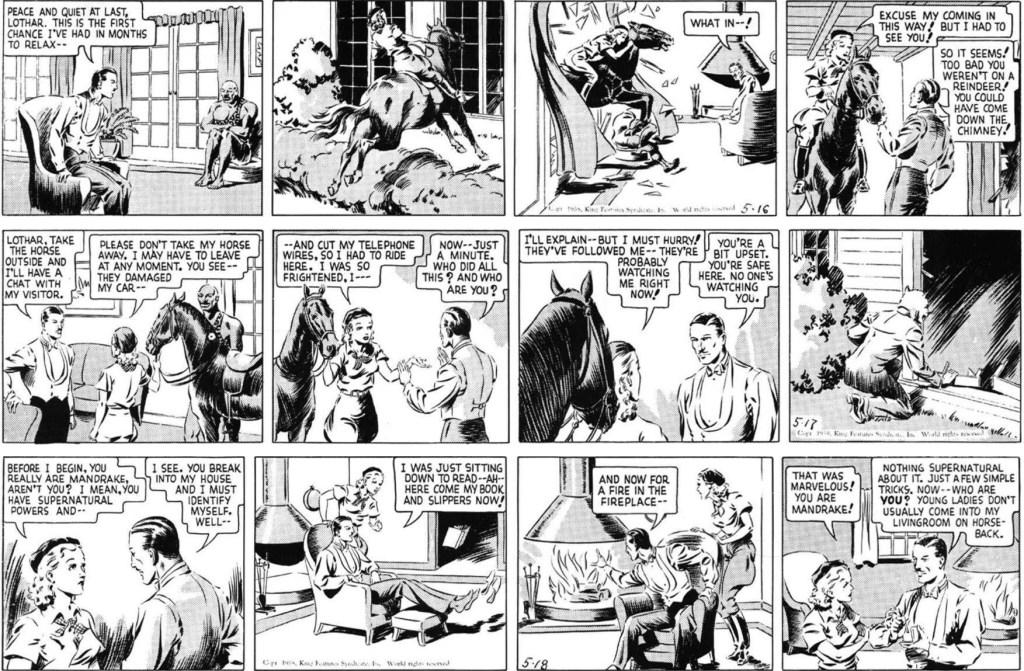 Tre inledande strippar i original från 16-18 maj, 1938. ©KFS