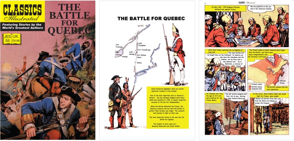 Omslag, förstasida och inledande sida ur Classics Illustrated (JES) No. 55. ©JES