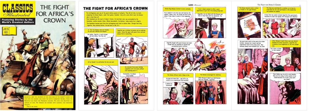 Omslag, förstasida och ett uppslag ur inlagan ur Classics Illustrated (JES) No. 60. ©JES