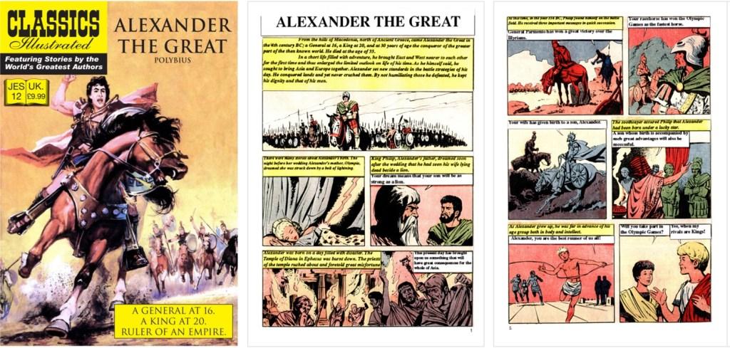 Omslag, förstasida och inledande sida ur inlagan ur Classics Illustrated (JES) No. 12. ©JES