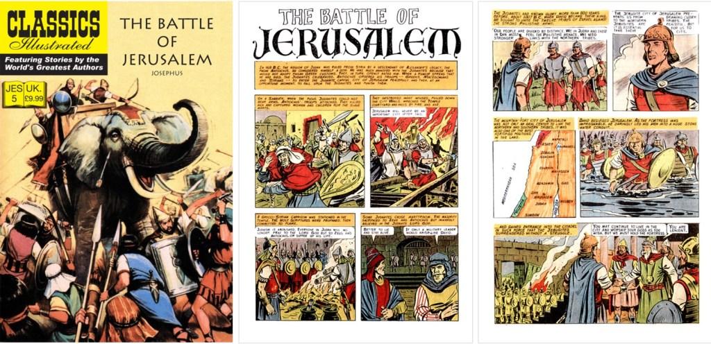 Omslag, förstasida och den inledande sidan ur Classics Illustrated (JES) No. 5. ©JES