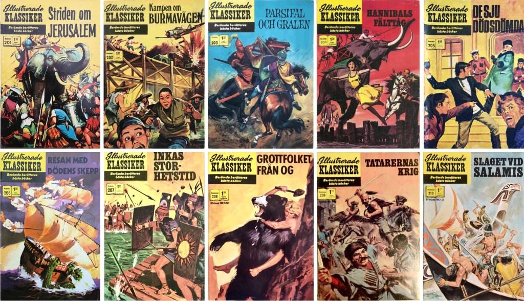 Omslag till Illustrerade klassiker nr 201-210 (1969-71). ©IK/Williams/JES