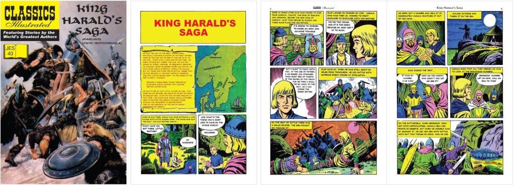 Omslag och inledande sidor ur inlagan ur Classics Illustrated (JES) No. 40. ©JES