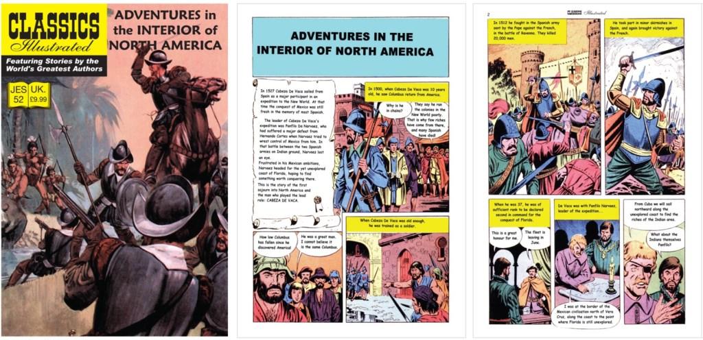 Omslag och inledande sidor ur inlagan ur Classics Illustrated (JES) No. 52. ©JES