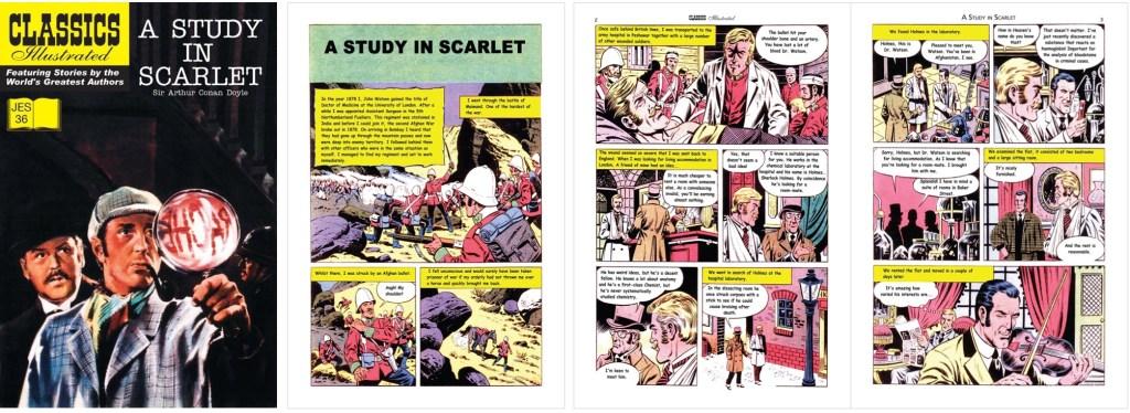 Omslag och inledande sidor ur Classics Illustrated (JES) No. 36. ©JES