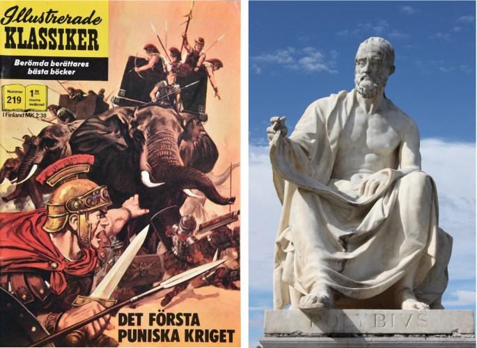 Omslag till Illustrerade klassiker 219, och staty av Polybios från parlamentsbyggnaden i Wien. ©Williams