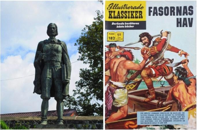 Staty av Antonio Pigafetta i Cebu City, Filippinerna, och omslag till Illustrerade klassiker 182. ©Williams