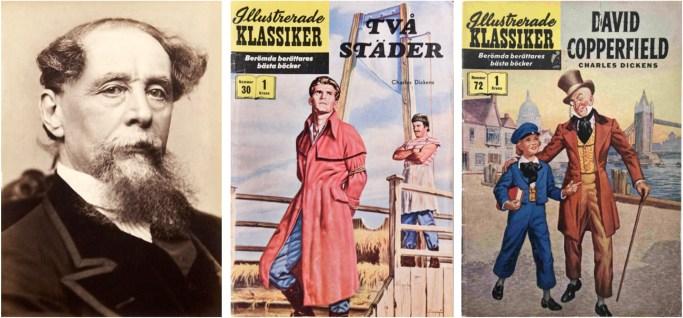 Fotografi av Charles Dickens, och omslag till Illustrerade klassiker 30 och 72. ©IK/Gilberton