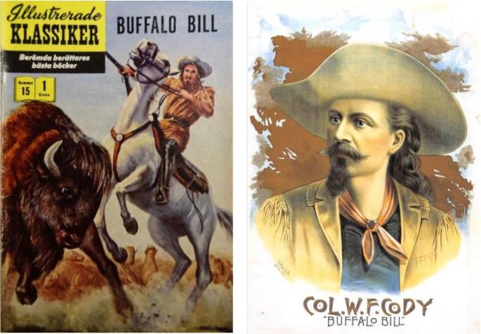 Omslag till Illustrerade klassiker 15, och en affisch som användes på 1880- och 90-talet för att göra reklam för Buffalo Bills Wild West Show. ©IK/Gilberton