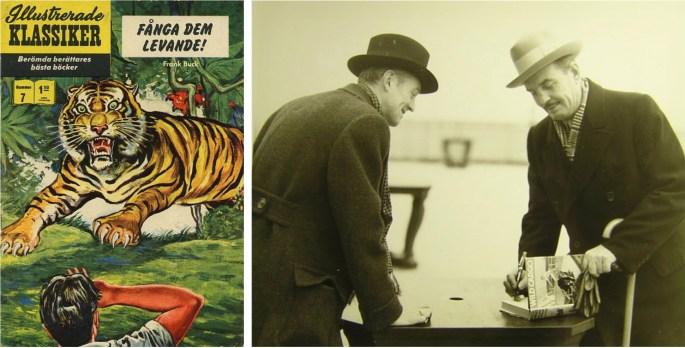 Omslag till Illustrerade klassiker 7, och Edward Anthony (t.v.) och Frank Buck (t.h.) signerande deras andra bok, Wild Cargo. ©IK/Gilberton