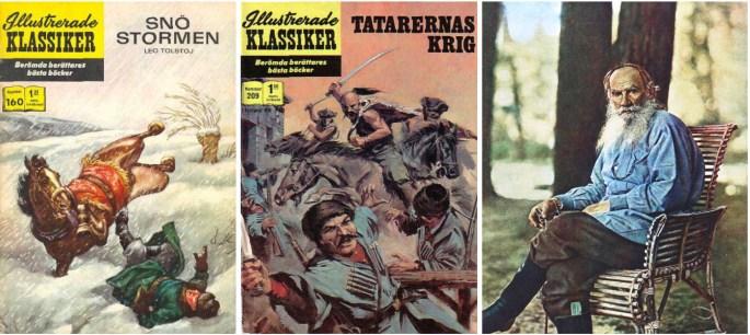 Omslag till Illustrerade klassiker 160 och 209, och fotografi av Leo Tolstoj (1908). ©IK/Williams