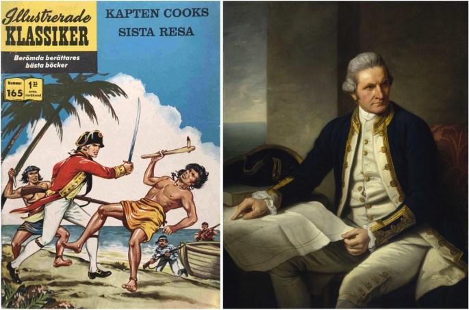 Omslag till Illustrerade klassiker 165 och porträtt av James Cook. ©IK