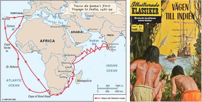 Karta över Vasco ad Gamas första resa till Calcutta, och omslag till Illustrerade klassiker 168. ©IK