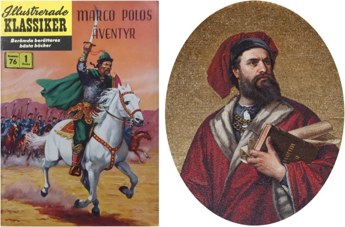 Omslag till Illustrerade klassiker 76, och mosaikporträtt av Marco Polo från Palazzo Doria Tursi, Genua. ©IK/Gilberton