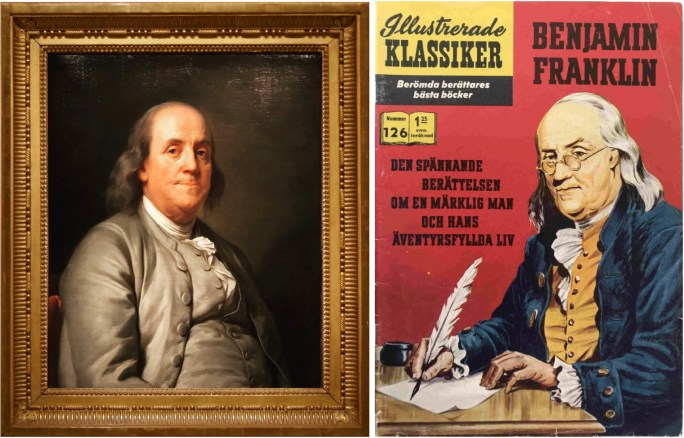 Porträtt av Benjamin Franklin, målat av Joseph Siffred Duplessis, från National Portrait Gallery, Smithsonian Institution i Washington D.C., och omslag till Illustrerade klassiker 126.