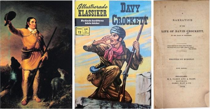 Porträtt av Crockett i skinnkläder, omslag till Illustrerade klassiker 12, och försättsblad till förlagan. ©IK/Gilberton