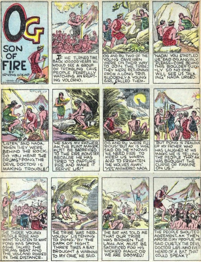 Den första sidan med Og, Son of Fire ur The Funnies #4 från 1937. ©Dell