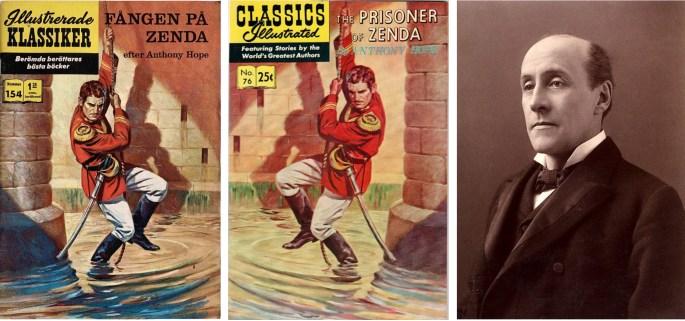 Omslag till Illustrerade klassiker 154 och dess förlaga Classics Illustrated #76, och fotografi av Anthony Hope Hawkins från slutet av 1800-talet. ©IK/Gilberton