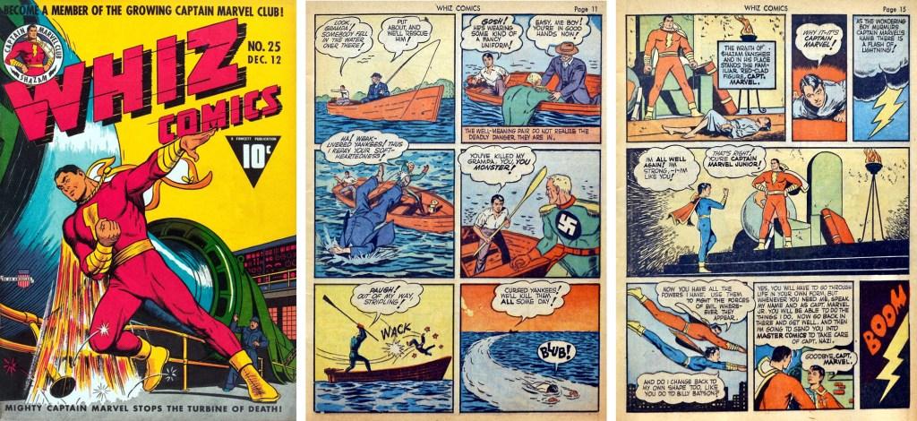 Omslag till Whiz Comics #25, och sidan där Freddy Freeman möter Captain Nazi, och sidan