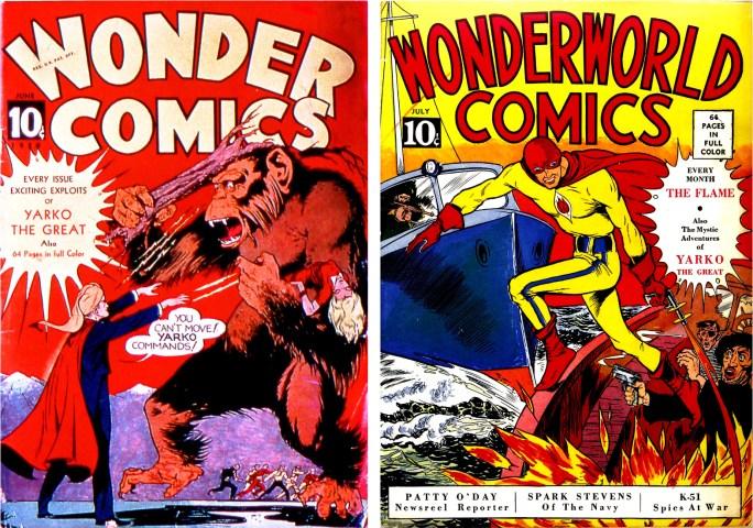 Omslag till Wonder Comics #2 och Wonderworld Comics #3. ©Fox