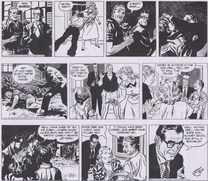 Slutet på episoden Correspondence Crisis i original från 8-10 juni 1950. ©KFS