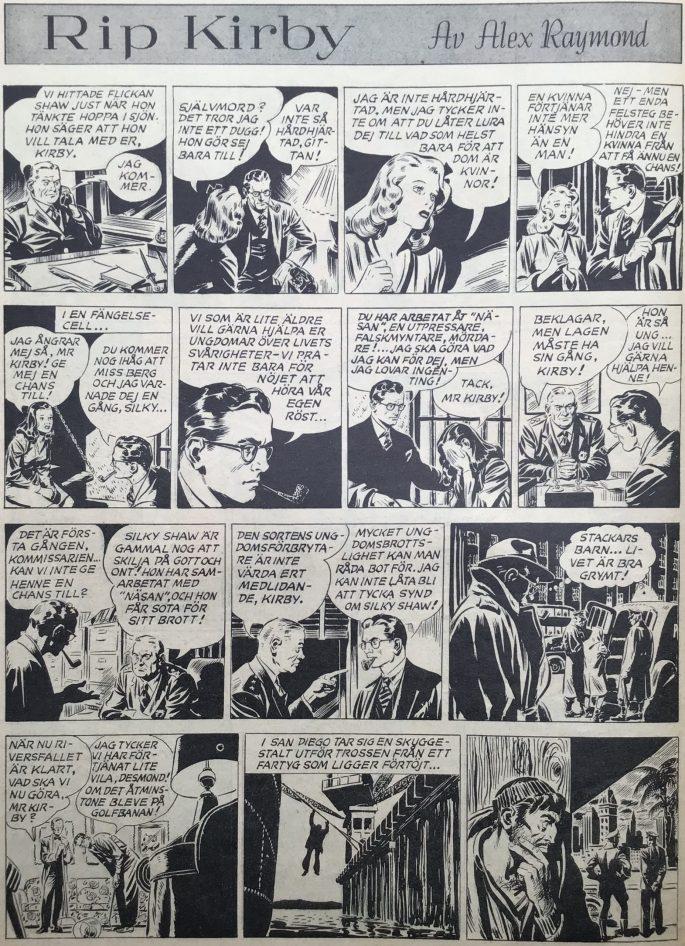 Sidan med Rip Kirby i Karl-Alfred nr 53, 1947. ©Bulls