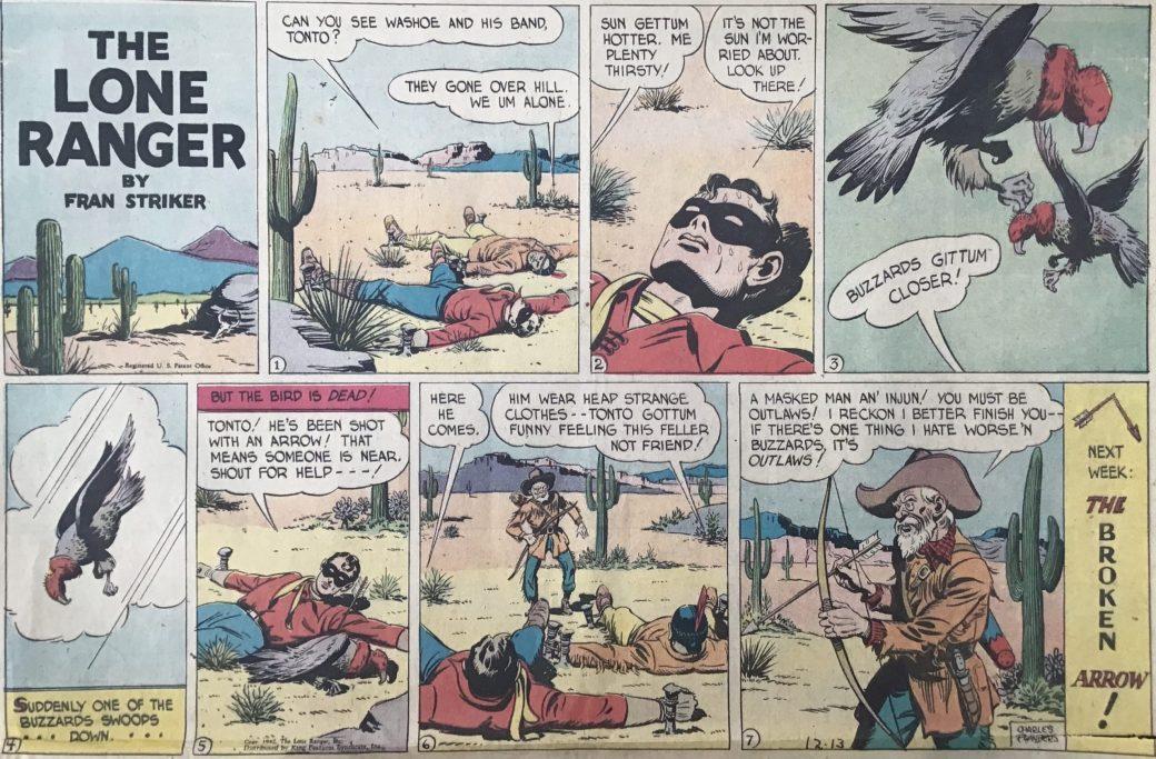 En söndagsstripp med The Lone Ranger från 13 december 1942. ©KFS