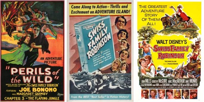 Filmaffischer från filmatiseringen 1925, 1940 och 1960. ©Universal/RKO/Disney