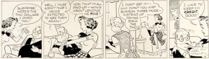 Original till Etta Kett dagsstripp från 1 oktober 1958. ©KFS