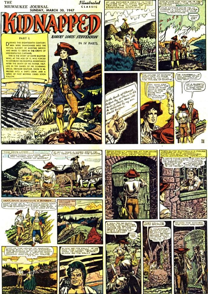 Inledande fyra sidor (av totalt 64) ur Kidnapped, från 30 mars, 1947. ©Gilberton