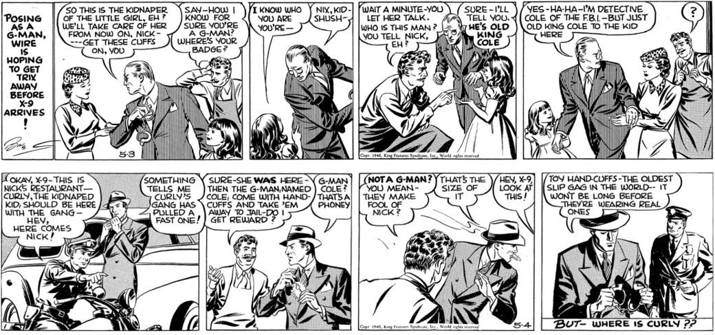 Sista dagsstrippen signerad av Briggs och den första tecknad av Graff, från 3-4 maj 1940. ©KFS