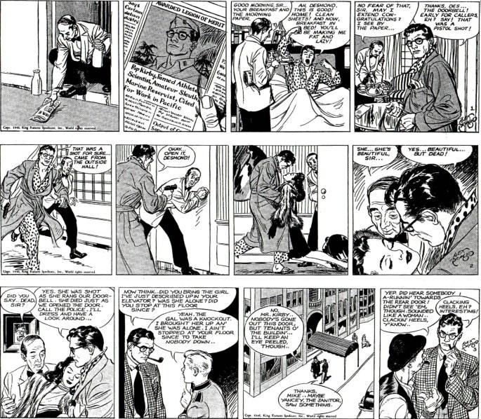 Första tre stripparna ur episoden The Chip Faraday Murder med Rip Kirby från 4-6 mars 1946. ©KFS