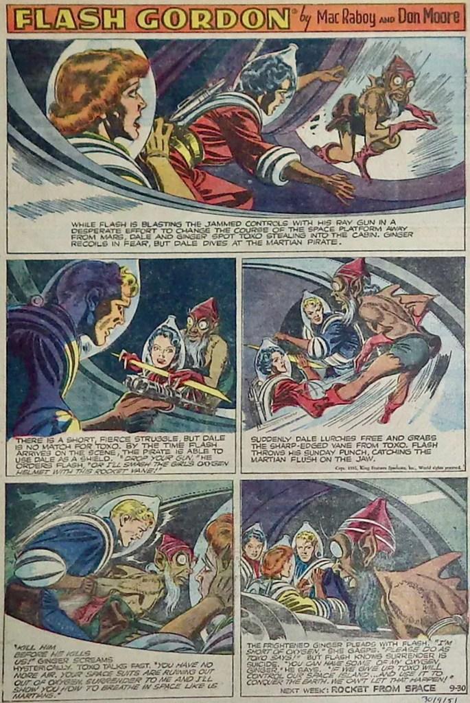 En söndagssida med Flash Gordon från 30 september 1951. ©KFS