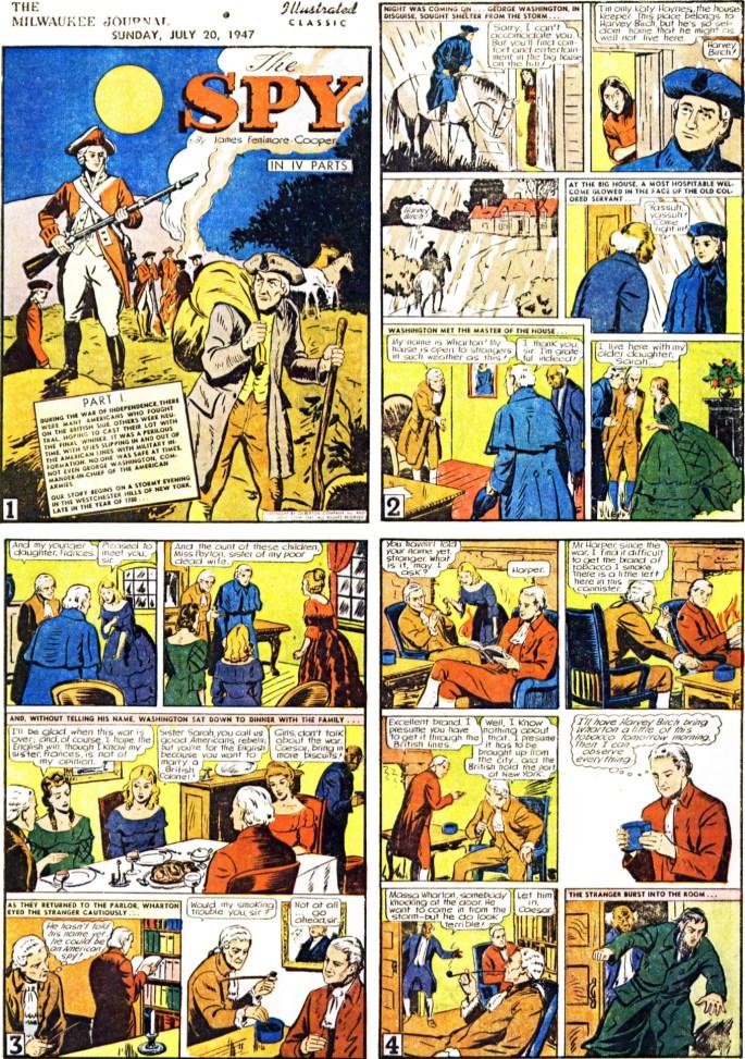 Inledande fyra sidor (av totalt 64) ur The Spy, från 20 juli, 1947. ©Gilberton