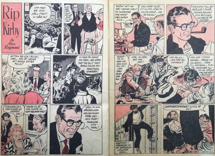 Uppslaget med Rip Kirby i Karl-Alfred nr 3, 1953. ©Bulls