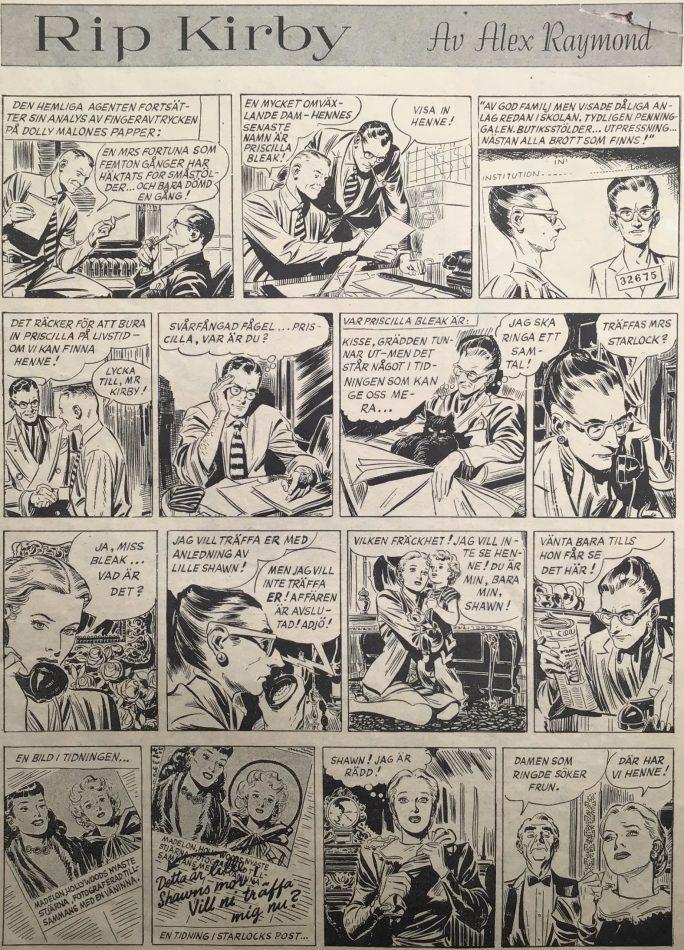 Sidan med Rip Kirby i Karl-Alfred nr 13, 1949. ©Bulls