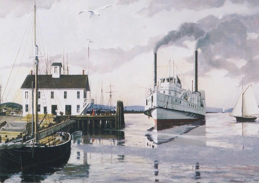 """En målning av Richard Brooks, med titeln """"Steamboat Dock""""."""